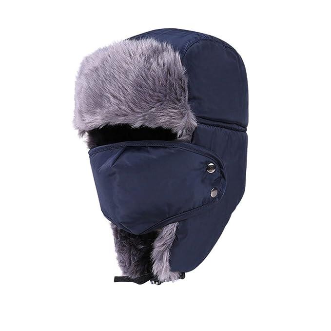 DELEY Hombres Mujeres Rusia Soldado Otoño Invierno Cálido Oído Solapa  Cortavientos Sombrero Cazador Bombardero Esquí Gorros Azul  Amazon.es  Ropa  y ... d323e9088de