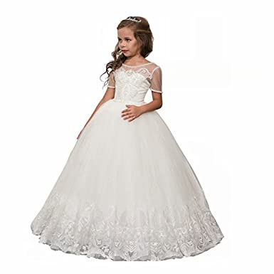 0eea5398f Amazon.com: Niya Girl Dress 2018 White Tulle First Holy Communion Dresses  with Sleeves Pageant Flower Girl Dress Ball Gown: Clothing