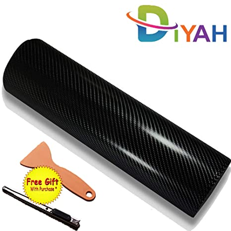 "4D Glossy Black 24/""x60/"" Carbon Fiber Vinyl Wrap Car DIY Sticker Air Release New"
