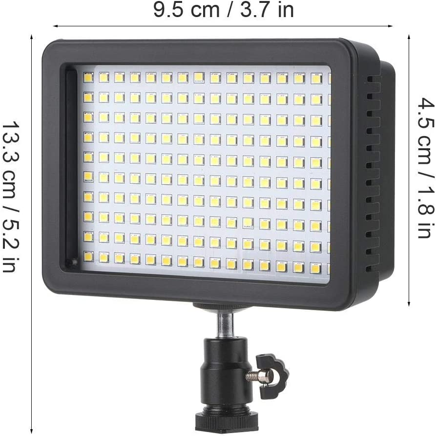 Vbestlife Video Light with 160 Pieces of LED Lamp Beads Fill Light for Digital Camera with Cold Shoe for Niko n Son and Cano n with Three Color Patches.