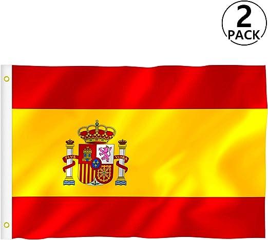 RYMALL Bandera España, Bandera Alemana,Bandera de Italia,Bandera Europa, Bandera Americana,Bandera Francia (Amarillo-ES-2pcs, 90): Amazon.es: Hogar