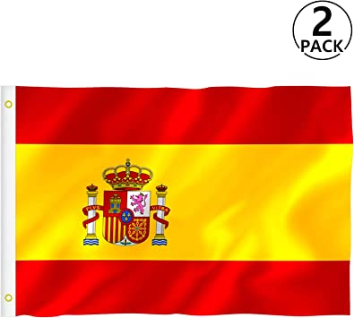 RYMALL Bandera España Grande, 2pcs Bandera de España, Resistente a la Intemperie, 90 x 150 cm: Amazon.es: Hogar