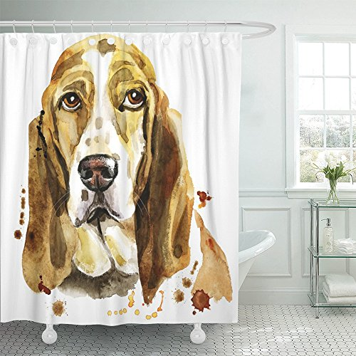 Emvency Shower Curtain Polyester 72x72 Inches White Painting Cute Dog Graphics Watercolor Basset Hound Portrait Abstract Amiable Animal Beautiful Mildew Resistant Waterproof Adjustable Hook (Basset Hound Dog Portrait)