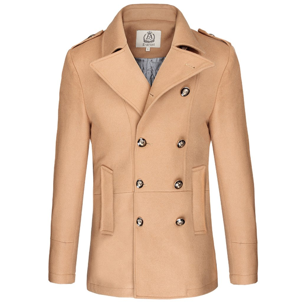 E-artist Men's Wool Pea Coats Double Breasted Overcoat N31 Camel X-Large