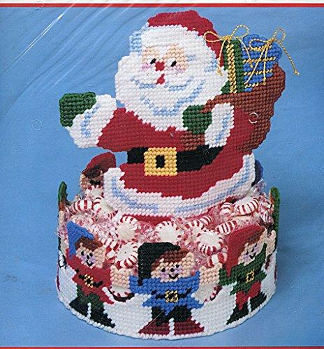 (Bucilla Plastic Canvas Needlepoint Kit ~ Santa & Elves Candy Dish)
