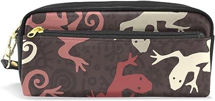 coosun étnico Gecko patrón portátil piel sintética estuche escolar pluma bolsas papelería funda gran capacidad de maquillaje bolsa: Amazon.es: Oficina y papelería