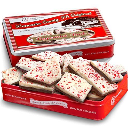 Golden State Fruit Traditional Layered Dark and White Chocolate Peppermint Bark in Christmas Gift Tin, 1 Pound ()