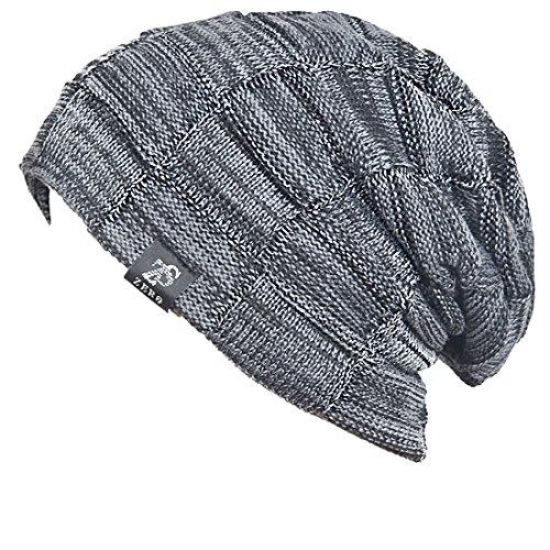Cool Men Roll Knit Beanie Rectangular Winter Skullcap Top Hat B816 - Beanie Hat Cool