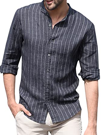 a094f47009 Taoliyuan Mens Cotton Banded Collar Long Sleeves Casual Vertical Striped  Button Down Shirts Regular Fit Black