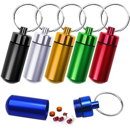 NATUCE 6PCS P llaveros pastilleros estancos, Caja de Pastillas de aleación de Aluminio, astillero Píldoras Llavero Caja Botella Contenedor De ...