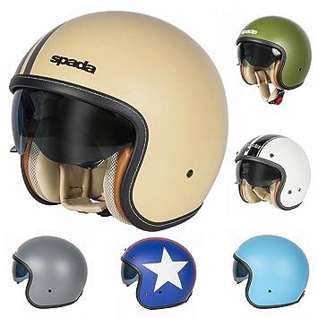 Spada Raze Motorcycle Motorbike Crash Helmet Open Face Matt Green Sun Visor