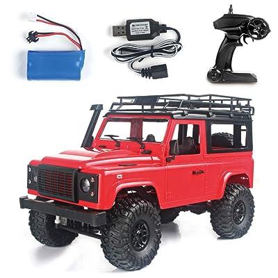 1/12 RC Rock Crawler D90 2.4 G 4 WD auto control remoto camión juguetes Defender rosso: Hogar