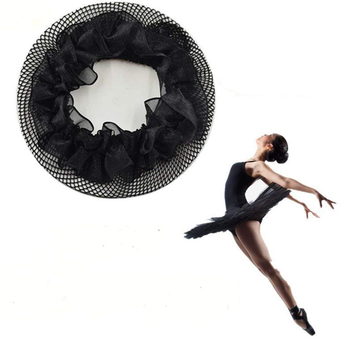New8Beauty Hair Nets Black - Hair Accessories for Ballet Bun Cover Dance Skating Gymnastics Wedding Performance (3 Pack) NEWEIGHTS