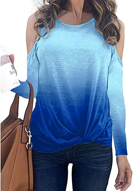 HebeTop Women Summer Long Sleeve Strappy Cold Shoulder T-Shirt Tops Blouses