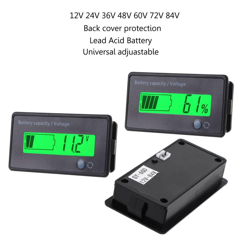 ZUIMEI 12V-84V Indicateur de capacit/é de batterie au plomb-acide Voltm/ètre Moniteur LCD