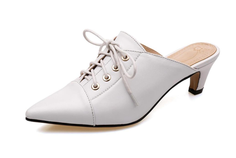 NBWE Damen Leder Sandalen Lace-up Upper Medium Ferse Spitze Hausschuhe Mule Schuhe  36 EU|White