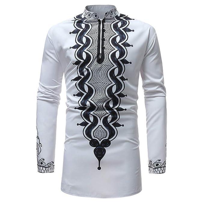 Blusa de hombre, BaZhaHei, Blusa superior de la manga larga de la impresión africana