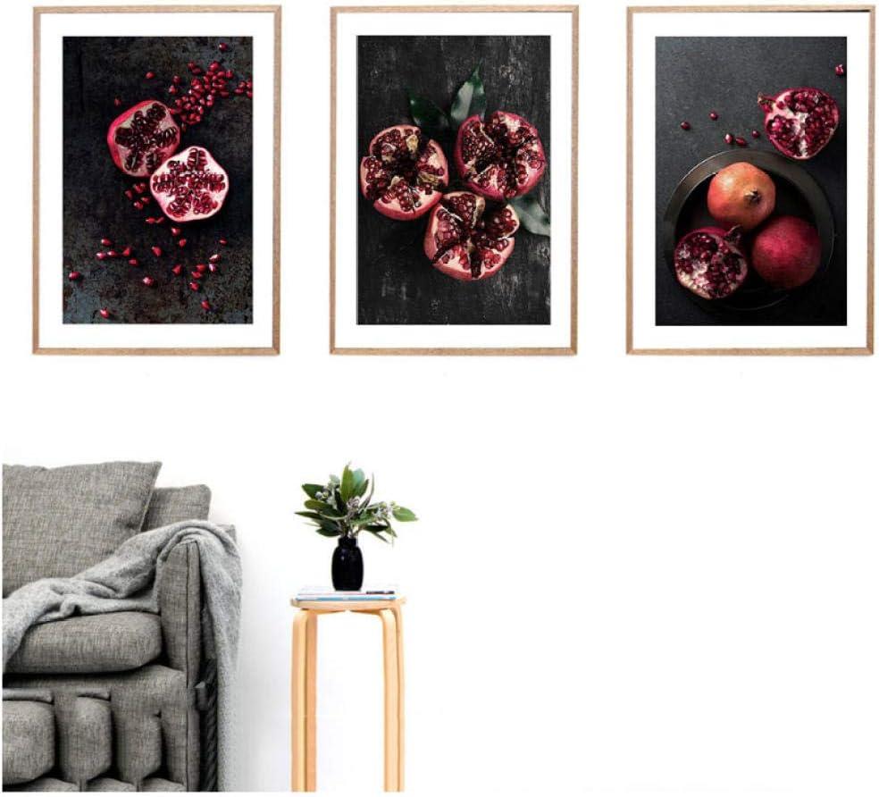 gr/ö/ße asasI9 Roter Granatapfel Obst Leinwand Poster Nordic Wand Kunstdruck Malerei Moderne Dekorative Bild Wohnzimmer Dekoration 40x60 cm Kein Rahmen