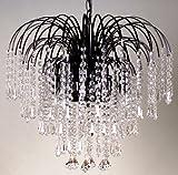 Elegant Large 4 Light Black Frame Waterfall Clear Crystal Droplet Ceiling Chandelie
