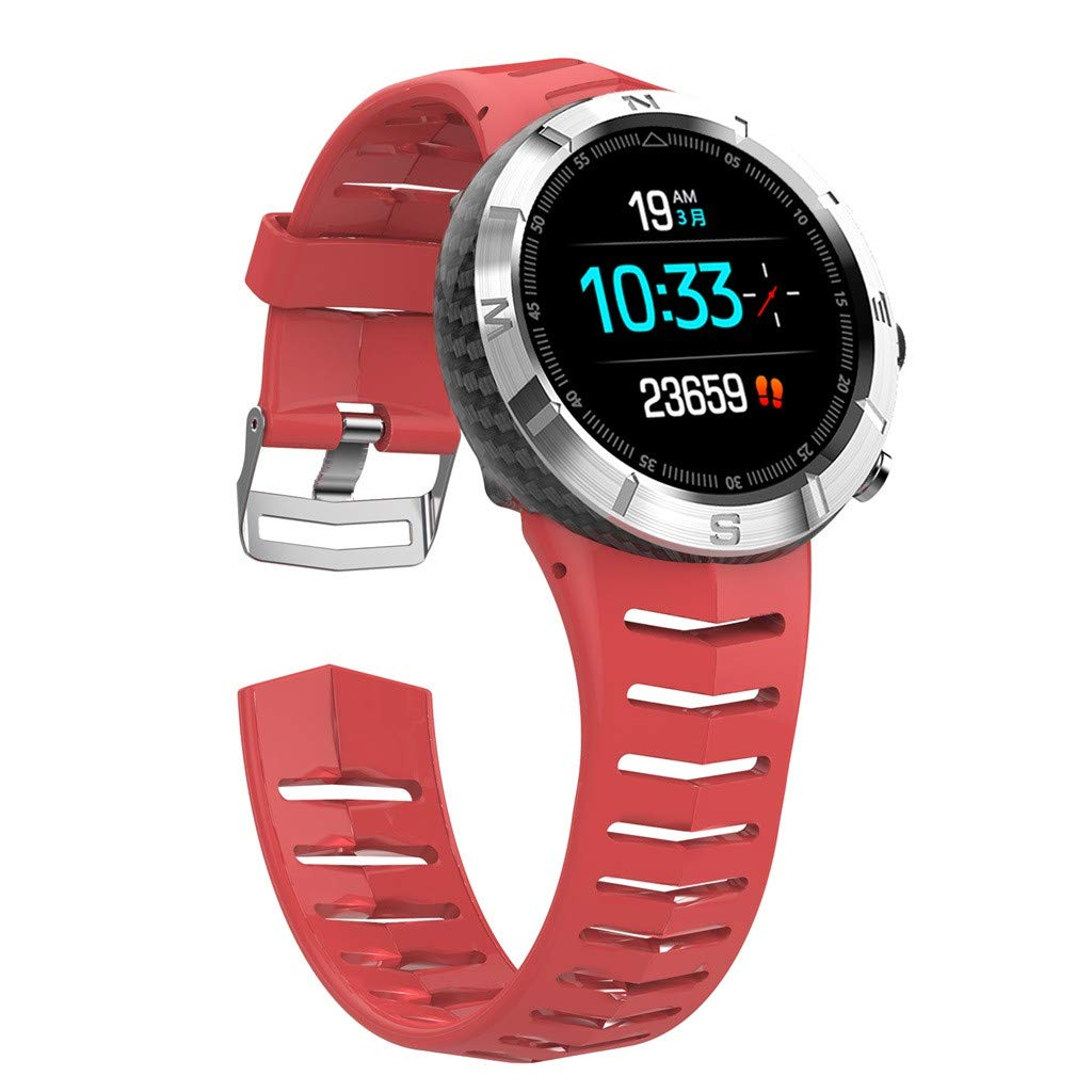 Libison Smart Watch, DT08 Round Full Touch Screen Activity Tracker Watch with Heart Rate Monitor Waterproof IP67 Fitness Band Step Counter Calorie Pedometer for Kids Women and Men (Red)