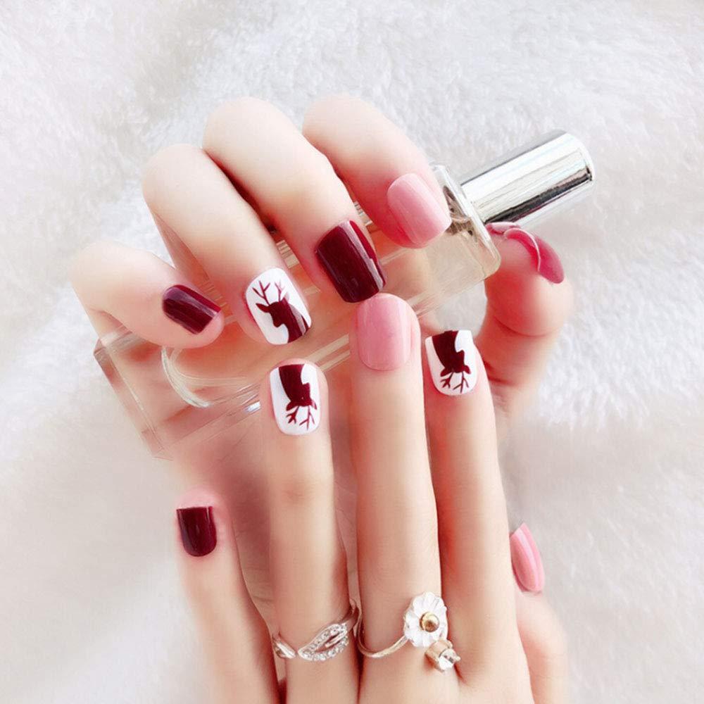 JK - Kit de 48 uñas postizas naturales, 12 tamaños diferentes, diseño de uñas postizas francesas, puntas para uñas de moda, cubierta completa, ...