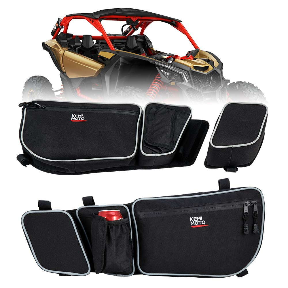 UTV Maverick X3 Door Strorage Bags with Removable Knee Pad for Can Am XRS XDS Turbo R Driver N Passenger Side Gear Bag by kemimoto