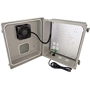 Altelix 14x12x8 Fiberglass Vented Weatherproof NEMA Enclosure with Cooling Fan, 120 VAC Power Outlets and Power Cord