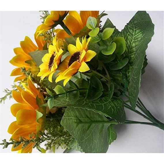 Luosanhe 13 Cabezas de Flores Artificiales de Girasol de Seda ...