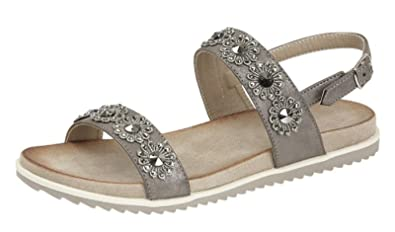 4db16102c3d Cipriata Womens Ladies Leather Look Diamante Flower Flat Mules Sandals  Pewter Silver Size 3 4 5 6 7 8 9  Amazon.co.uk  Shoes   Bags