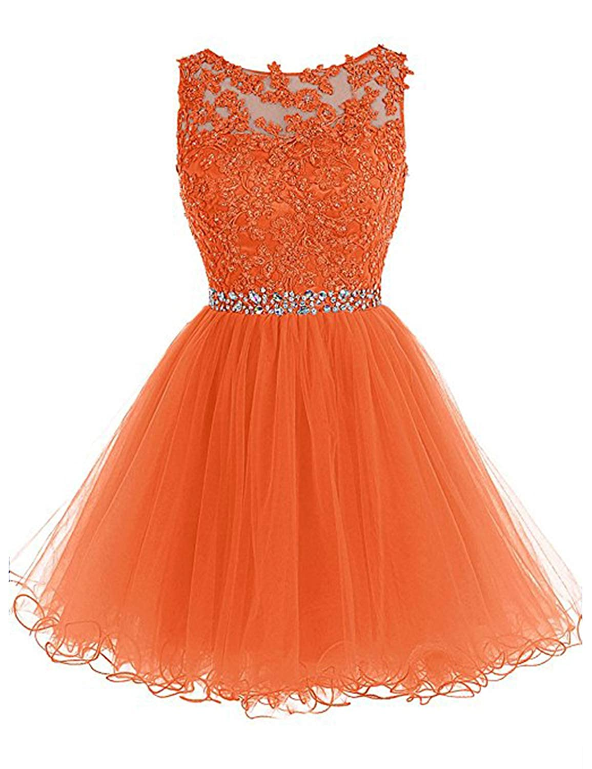 0 orange Vimans Women's Short Tulle Homecoming Dresses 2018 Knee Length Lace Prom Gowns Dress448