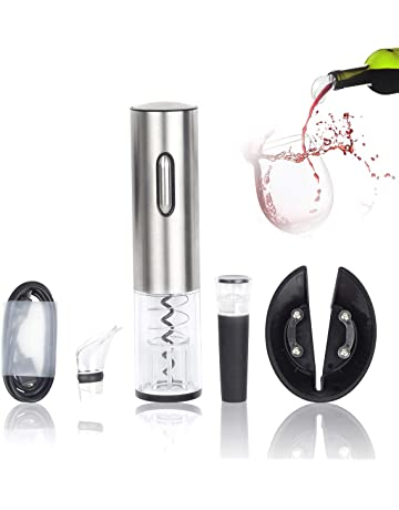 Aitsite Sacacorchos Electrico Abridor de Vino eléctrico con Cortador de Papel/Vertedor/Tapón de