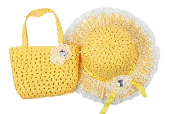 Dantiya-moda spiaggia cappello da sole fioro con borsa a mano per ragazza e  bambina c038ff3c0939