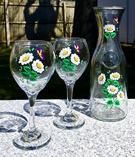Hand Painted Carafe (Carafe 1 Liter and Wine Glasses With Hand Painted Daisies 3 Piece Set)