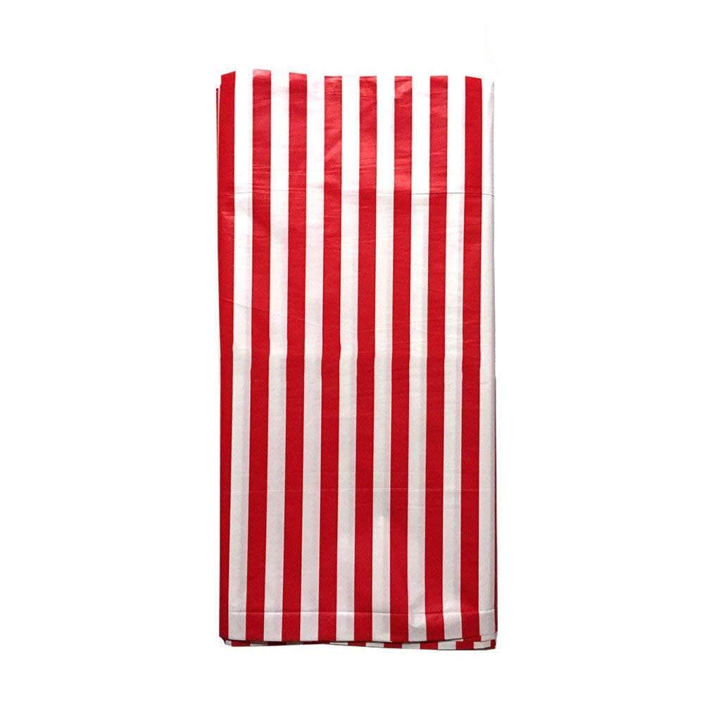 Yansanido Plastic Picnic Party Tablecloth,6 Pack Plastic Picnic Tablecloth 54 Inch. x 108 Inch. Rectangle Table Cover (Red White Stripe)