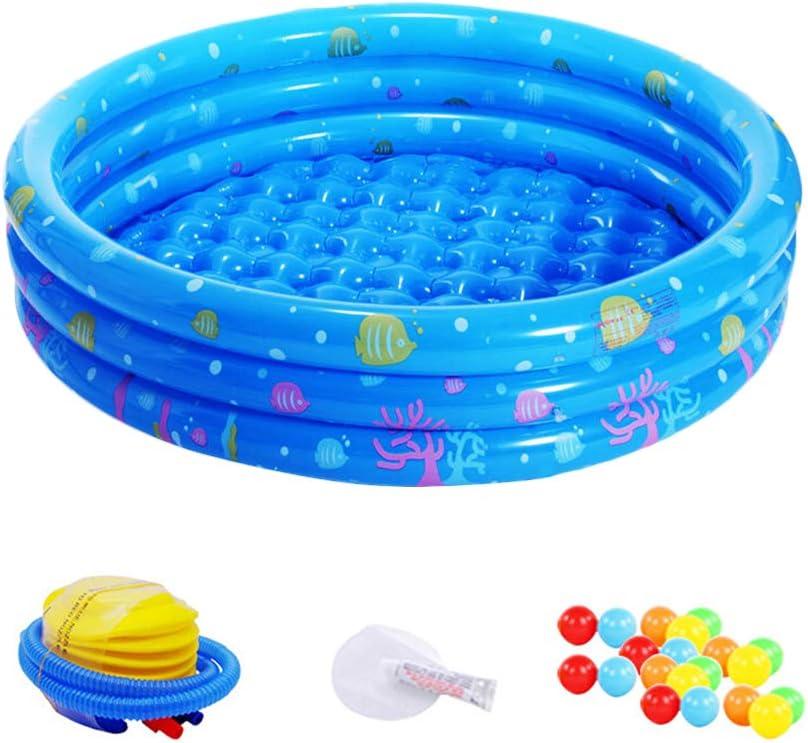 GZQES PVC Piscina de Natación para Bebe en la Casa,, Piscina Hinchable con 3 Aros (130*30cm, Azul)