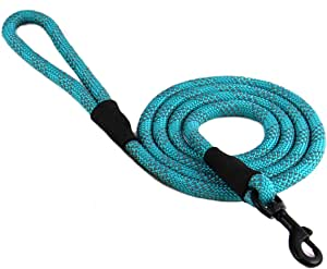 """Max and Neo Rope Leash Reflective 6 Foot - We Donate a Leash to a Dog Rescue for Every Leash Sold (Teal, 6 FT x 1/2"""")"""