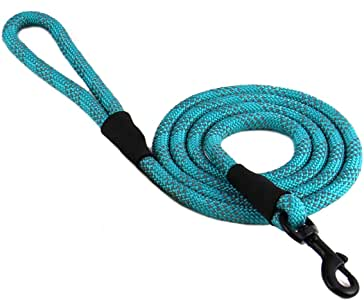 "Max and Neo Rope Leash Reflective 6 Foot - We Donate a Leash to a Dog Rescue for Every Leash Sold (Teal, 6 FT x 1/2"")"