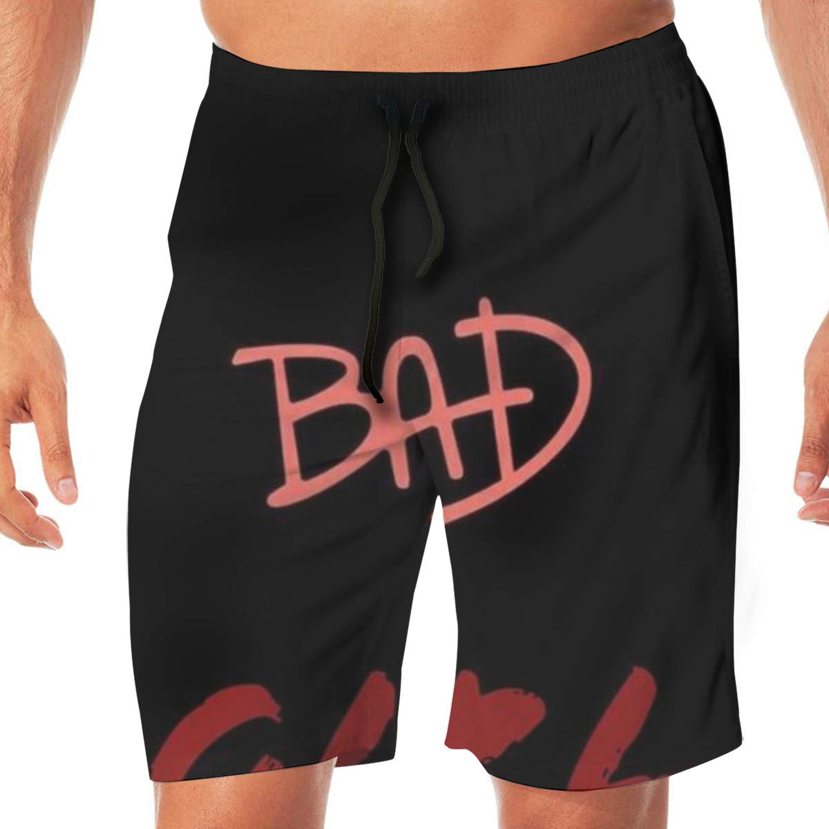 WOJUEDE Bad Girl Mens Swim Trunks Quick Dry Beach Wear Drawstring Board Shorts