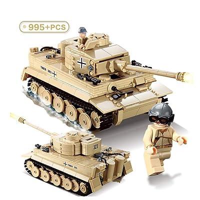 Actcute 995 Piezas de Bloques de construcción de Tanque de Tigre Rey alemán Conjuntos técnica Militar WW2 Soldados del ejército DIY Ladrillos Juguetes para niños: Juguetes y juegos