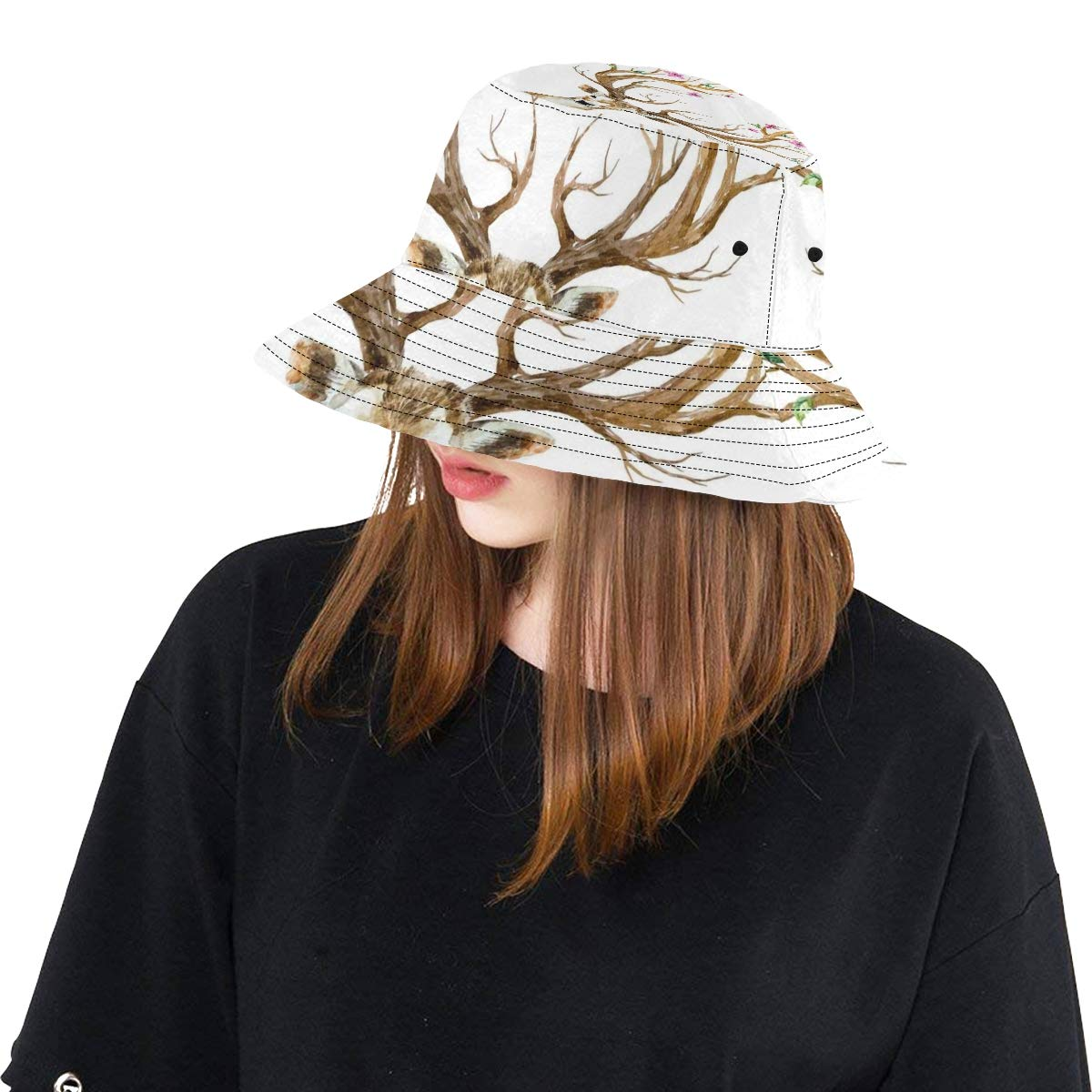 Powerful Wild Deer New Summer Unisex Cotton Fashion Fishing Sun Bucket Hats for Kid Teens Women and Men with Customize Top Packable Fisherman Cap for Outdoor Travel