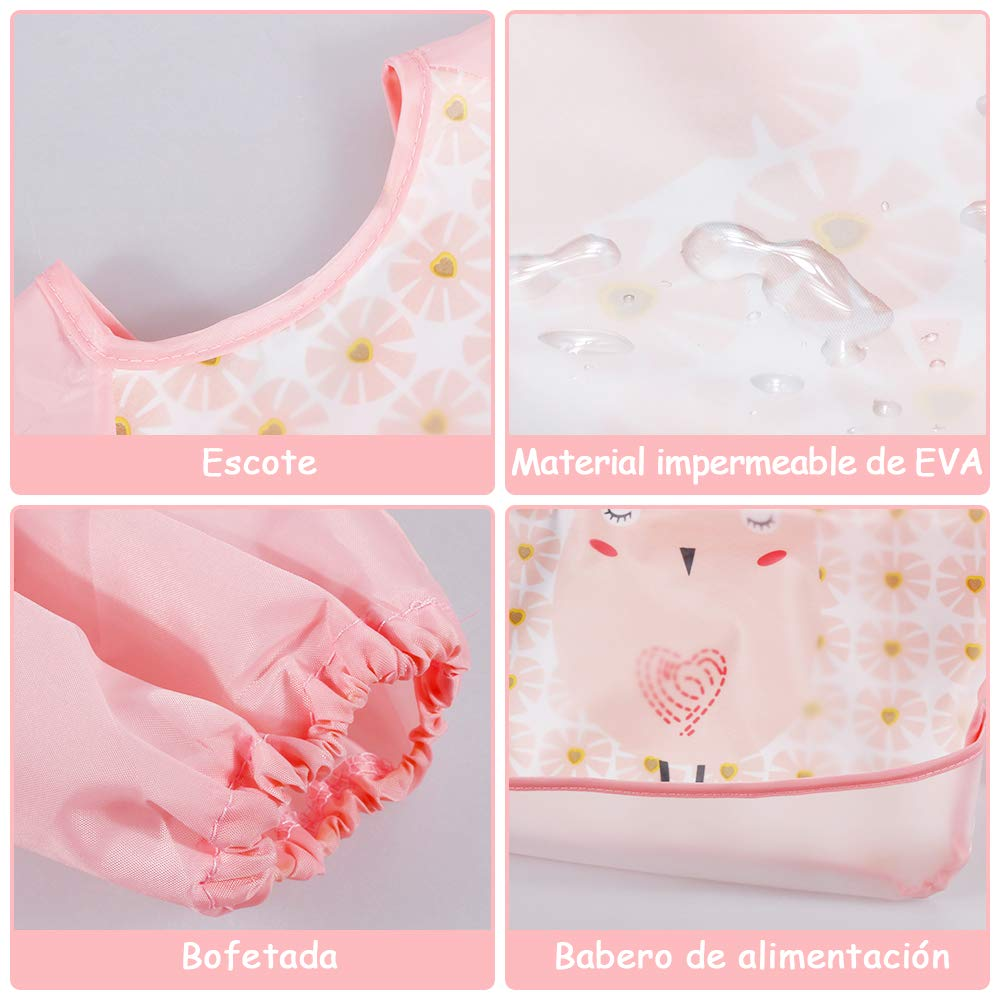 Lictin 6Pcs Unisexo Babero con manga larga Doble capa de EVA Impermeable 4 baberos de mangas y 2 conjuntos de bolsos de almacenamiento Impermeable para beb/és 6 meses hasta los 3 a/ños