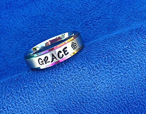 6mm Carved Comfort Fit Band - Personalized Hand Stamped Ring~Rainbow Trimmed~Multicolor~Comfort Fit Stainless Steel~Any Name or Names~Hand Engraved Name Ring