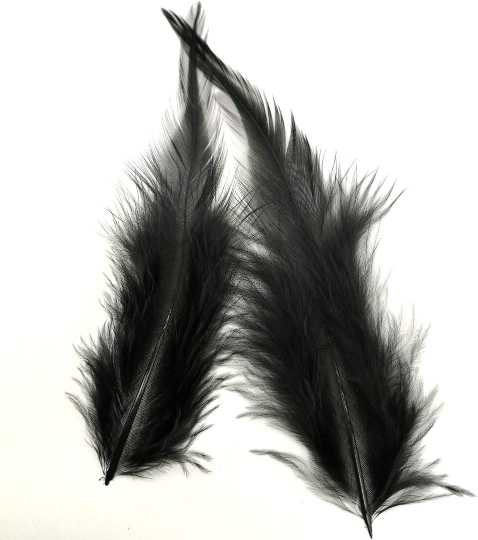 Red 100pcs Saddle Feathers Hackle Rooster Feathers Dyed Neck Feathers for Craft DIY Pendant Earrings Jewelry Costume Dream Catcher 5-6 Inch