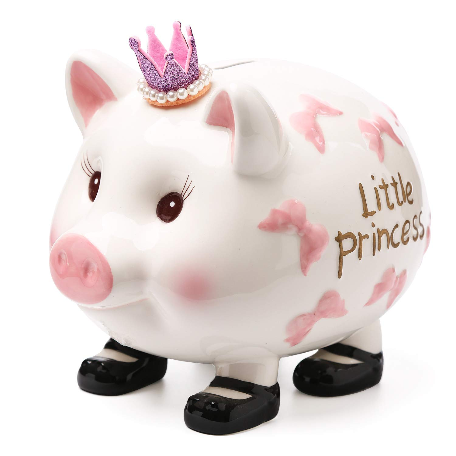 FORLONG FL2031 Crown Princess Large Ceramic Piggy Bank Coin Bank for Girl