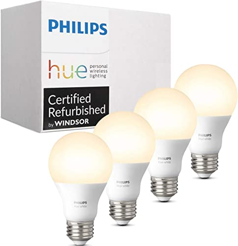 Philips Hue White A19 4-Pack 60W Equivalent Dimmable LED Smart Bulb Compatible with Amazon Alexa Apple HomeKit and Google Assistant Renewed