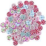 Lumanuby 100 Pcs Wooden Buttons Children Print Buttons Sewing Buttons Cartoon Design Knitting Scrapbooking/DIY Clothing Accessories Handmade Materials Random Color