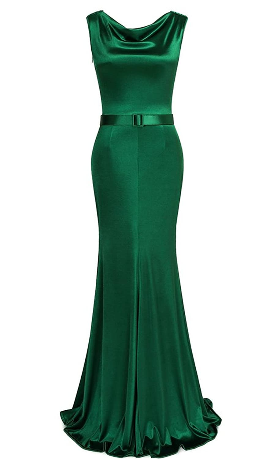 HelloGirls Womens 1950s Cowl Neck Fishtail Evening Dress