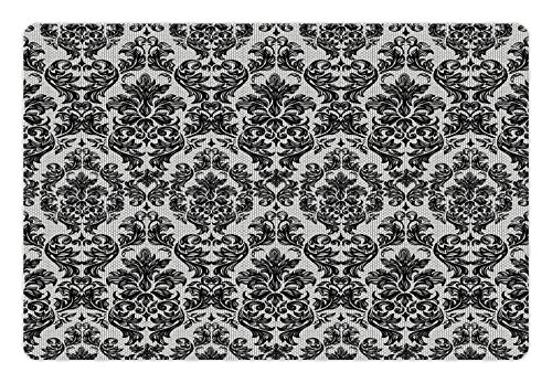 Ambesonne Baroque Pet Mat for Food and Water, Vintage Lace Style Pattern of Antique Victorian Motifs Renaissance Influences, Rectangle Non-Slip Rubber Mat for Dogs and Cats, Black and White
