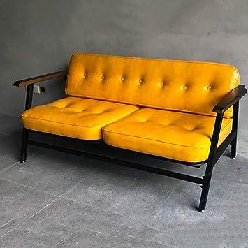 DNNAL Sofa de Cuero Loft Industrial Wind Retro Pequeño ...