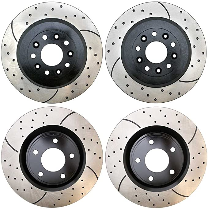 Prime Choice Auto Parts PR41313PR41422 4 Front and Rear Performance Drilled and Slotted Brake Rotors